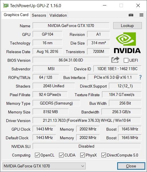 Datos de la GPU al detalle gracias a GPUZ