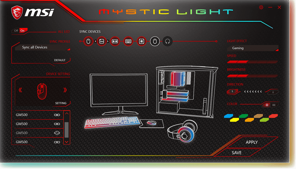 MSI Clutch GM70, RGB Mystic Light