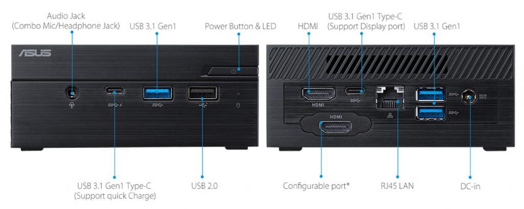Asus PN60-B5080ZV, conexiones