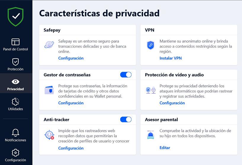 Características de privacidad