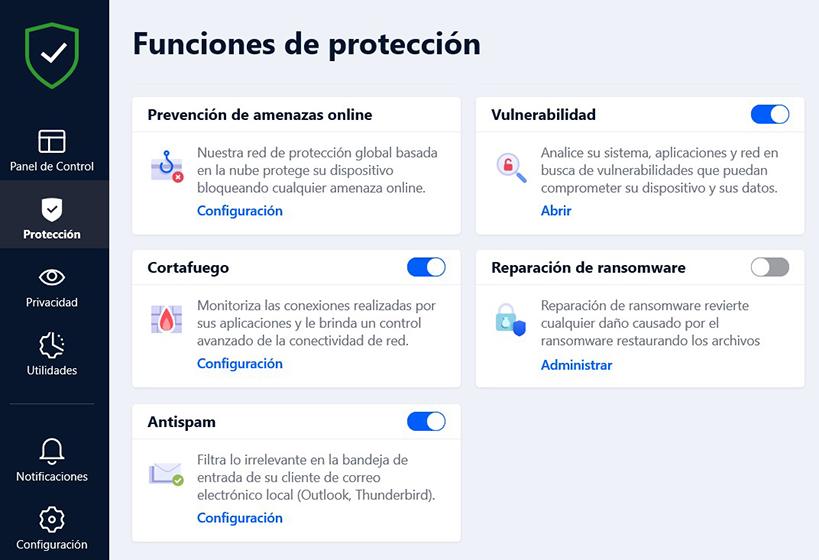 Bitdefender Total Security - Funciones de protección