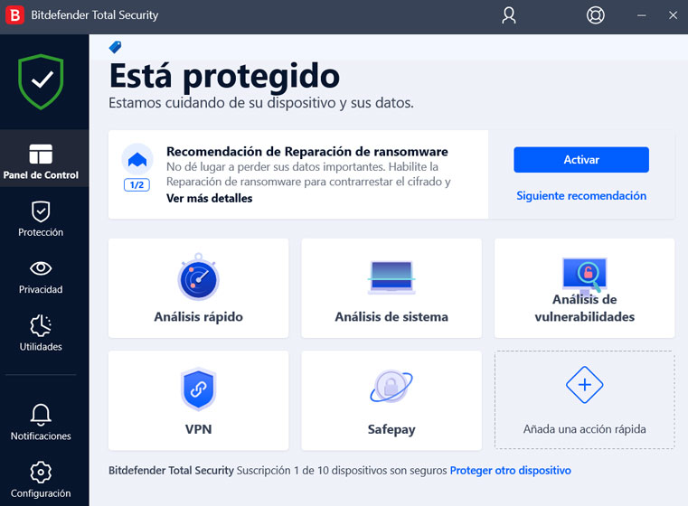 Bitdefender Total Security - Interfaz